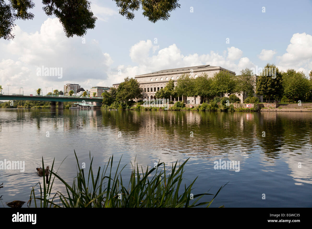 Ruhr river and Stadthalle, Muelheim an der Ruhr, North Rhine-Westphalia, Germany, Europe - Stock Image