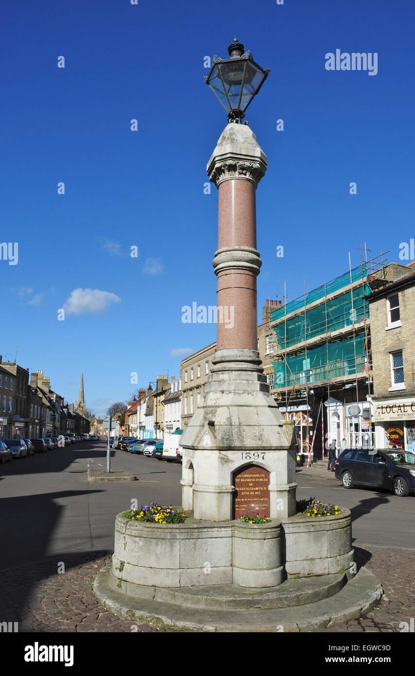 Queen Victoria's Jubilee Memorial 1897, The Broadway, St Ives, Cambridgeshire, England, UK - Stock Image