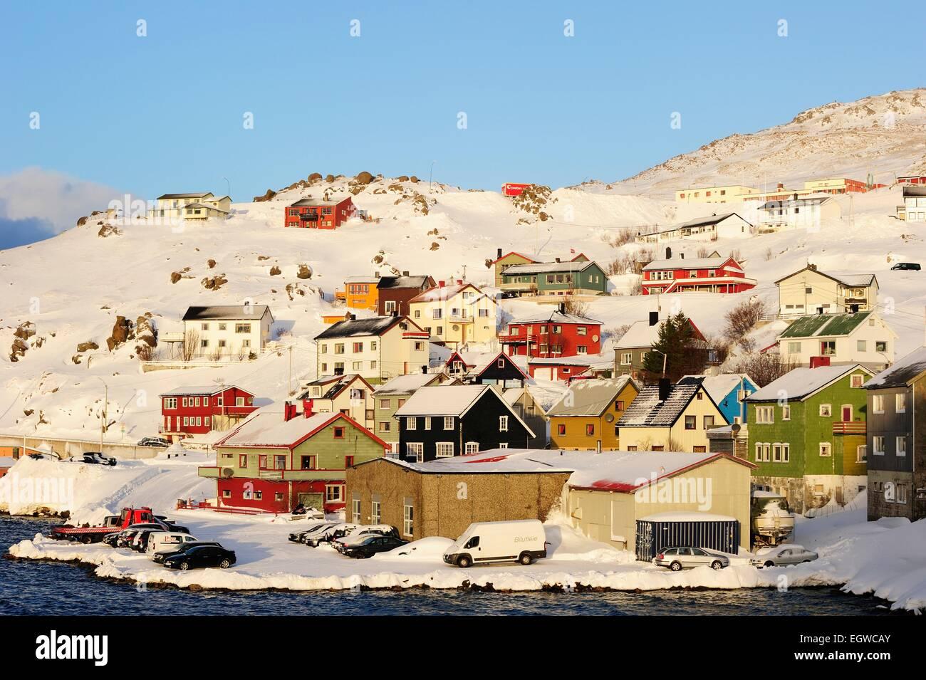 Snowy settlement, Honningsvåg, Magerøya, Nordkapp, Finnmark County, Norway - Stock Image