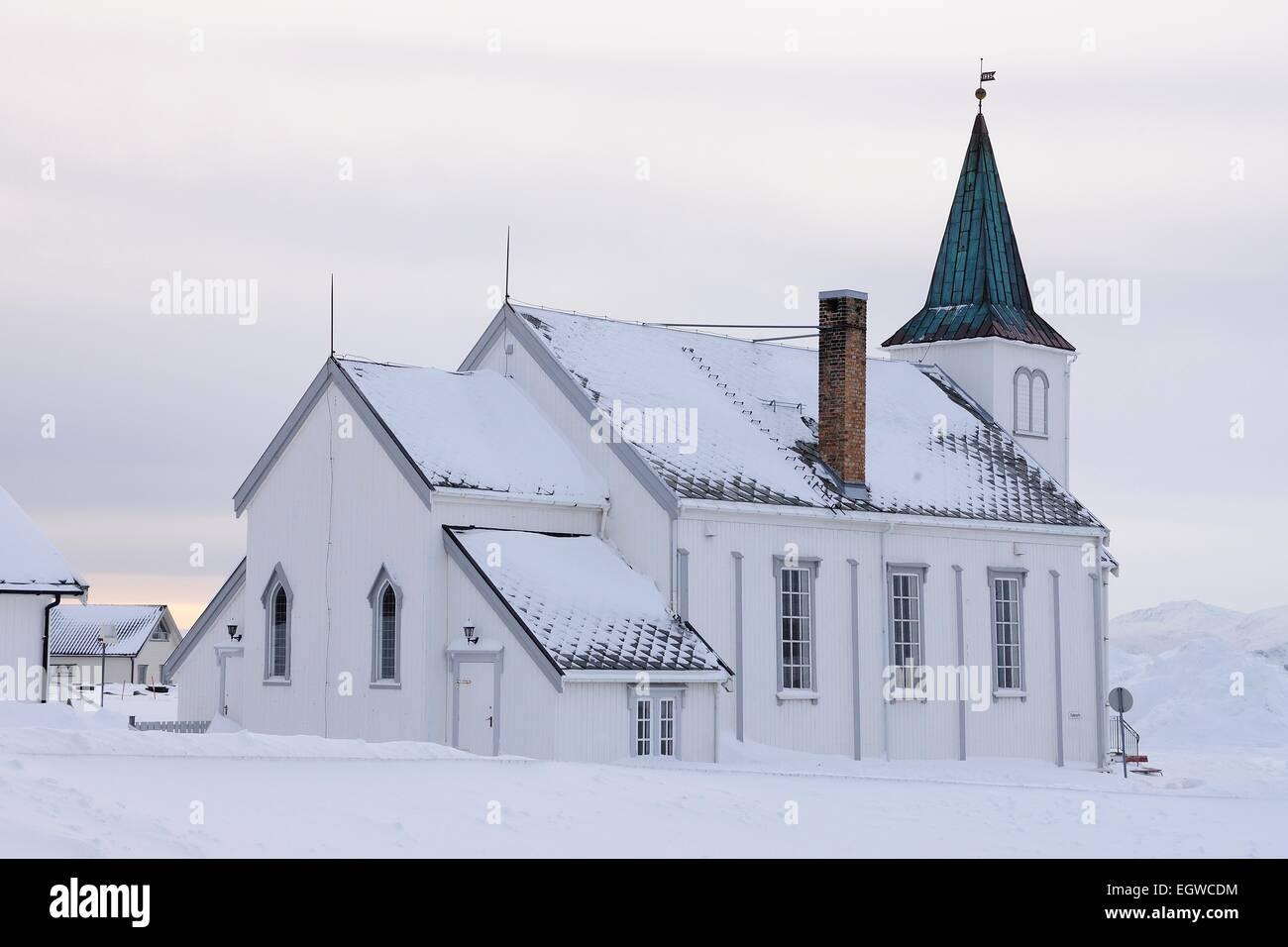 Snowy church, Honningsvåg, Magerøya, Nordkapp, Finnmark County, Norway - Stock Image