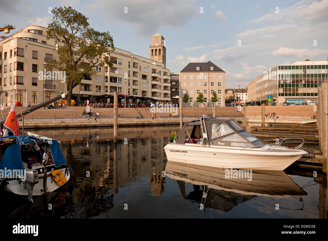 city harbour and town hall tower, Muelheim an der Ruhr, North Rhine-Westphalia, Germany, Europe - Stock Image