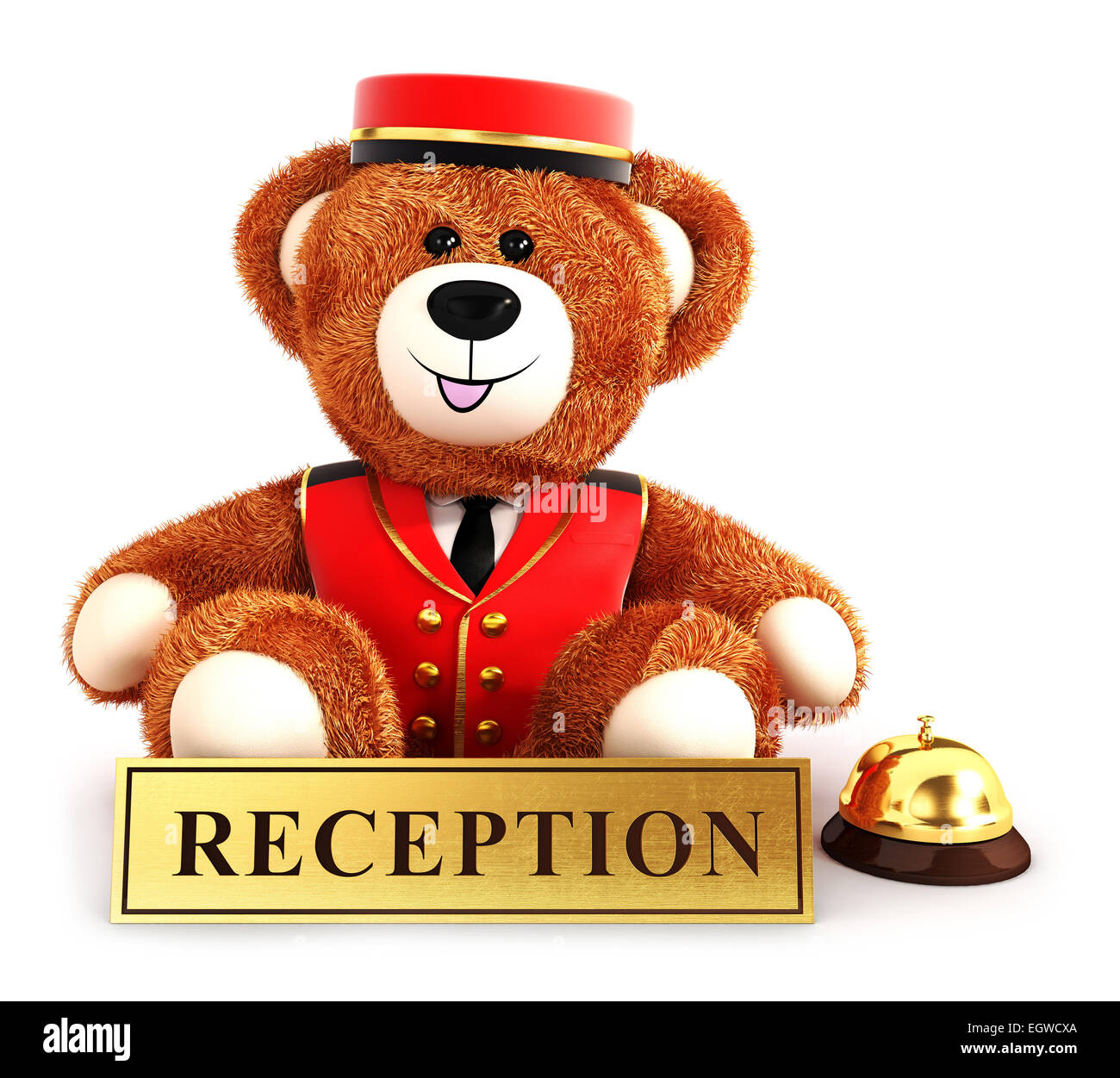 3d teddy bear bellboy, isolated white background, 3d image Stock Photo
