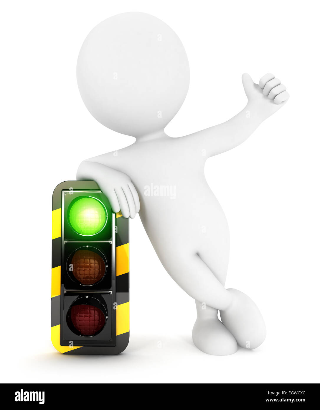 3d white people traffic light on green, isolated white background, 3d image Stock Photo