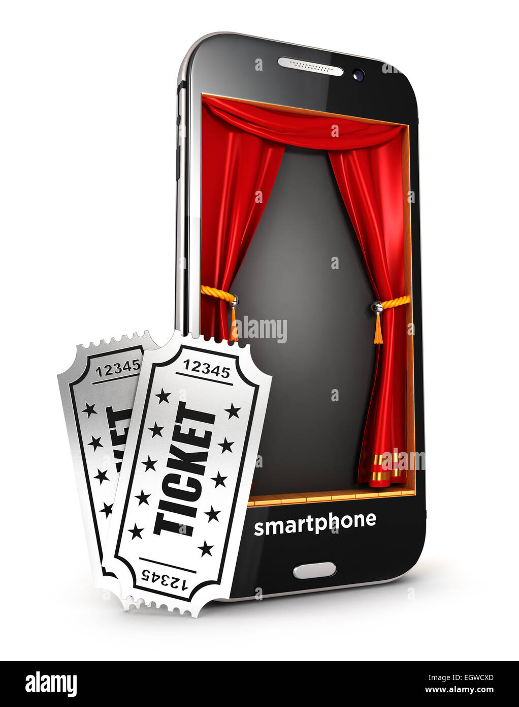 3d smartphone stage and tickets, isolated white background, 3d image Stock Photo