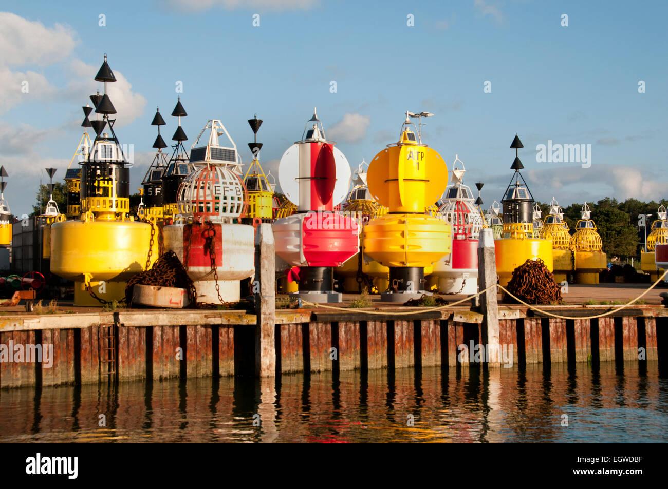 Buoys Terschelling Harbour Wadden Sea Wad buoy Harbor Port Netherlands - Stock Image