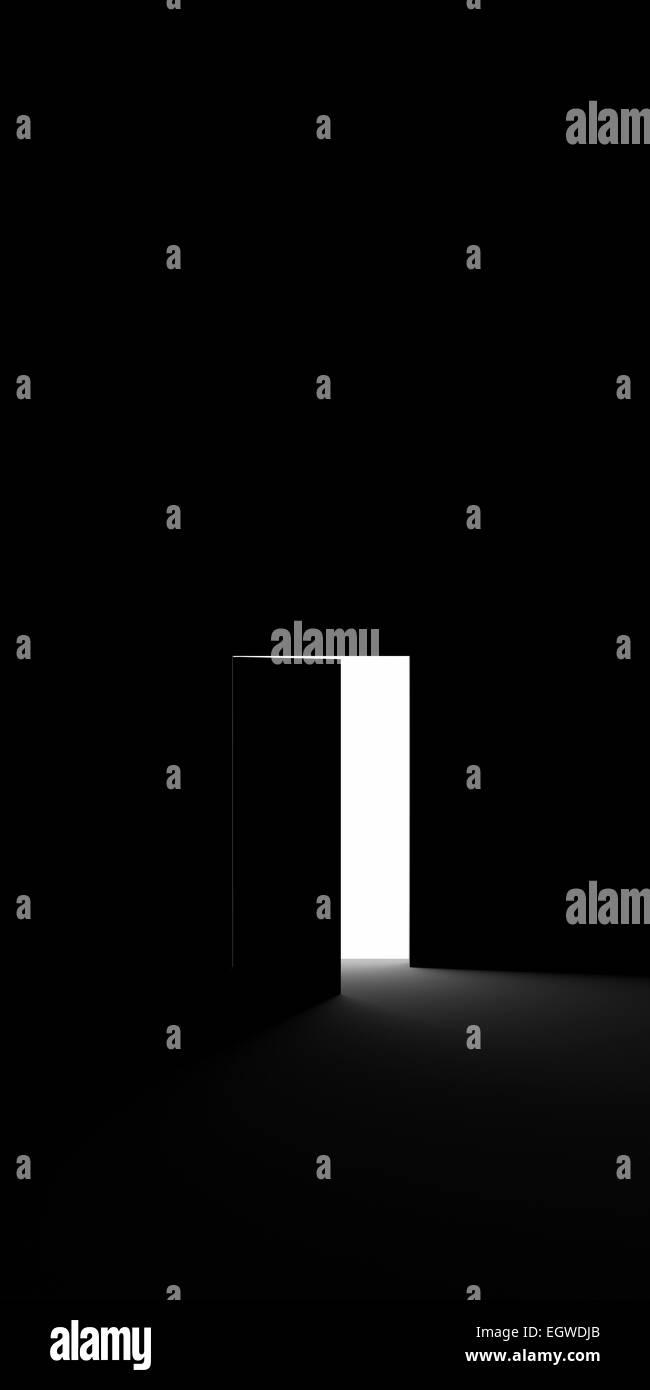 Open door into the darkness - Stock Image