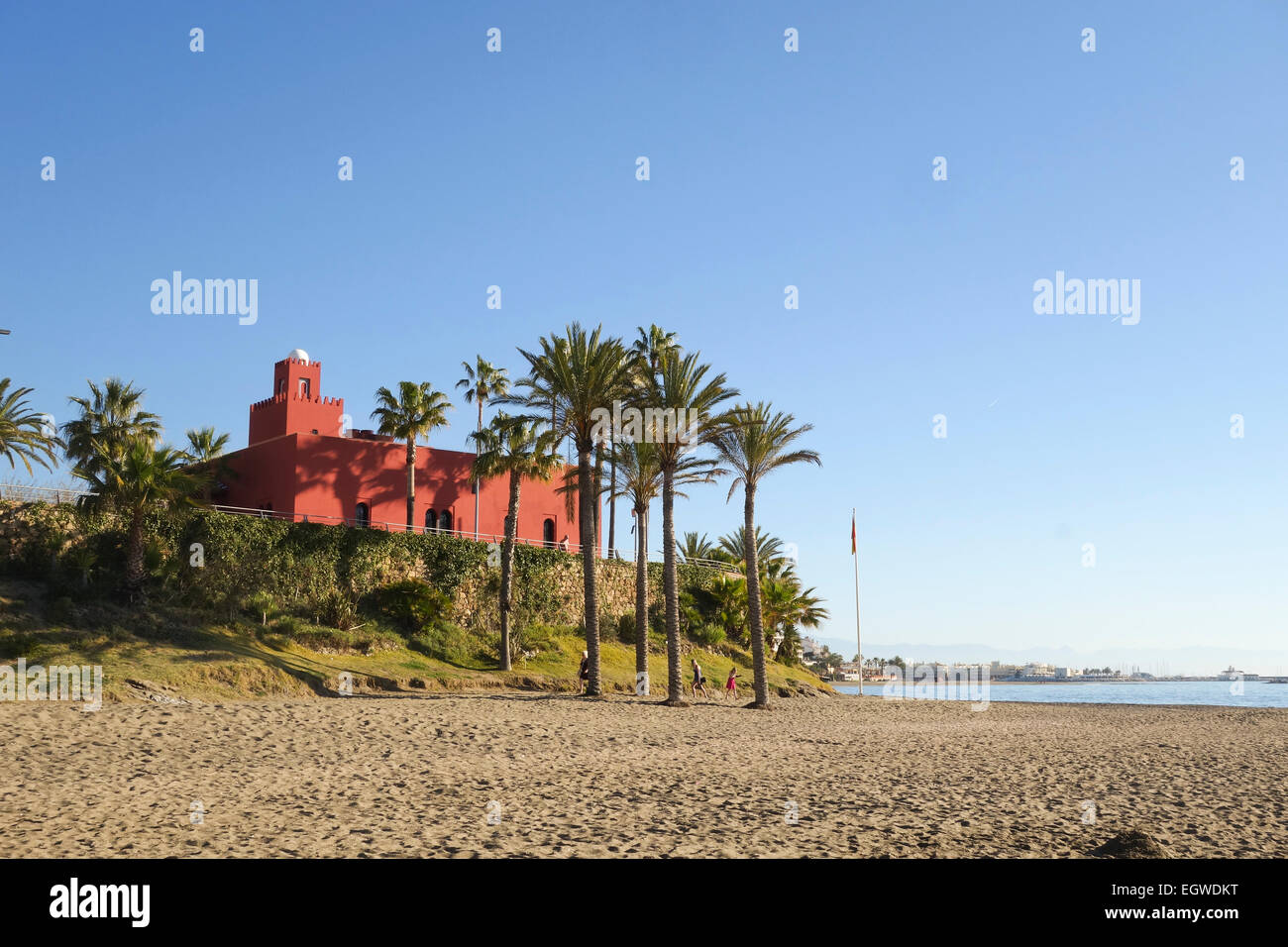 Bil Bil Castle, Arabic-style building behind, Benalmadena, Andalusia, Southern Spain. - Stock Image