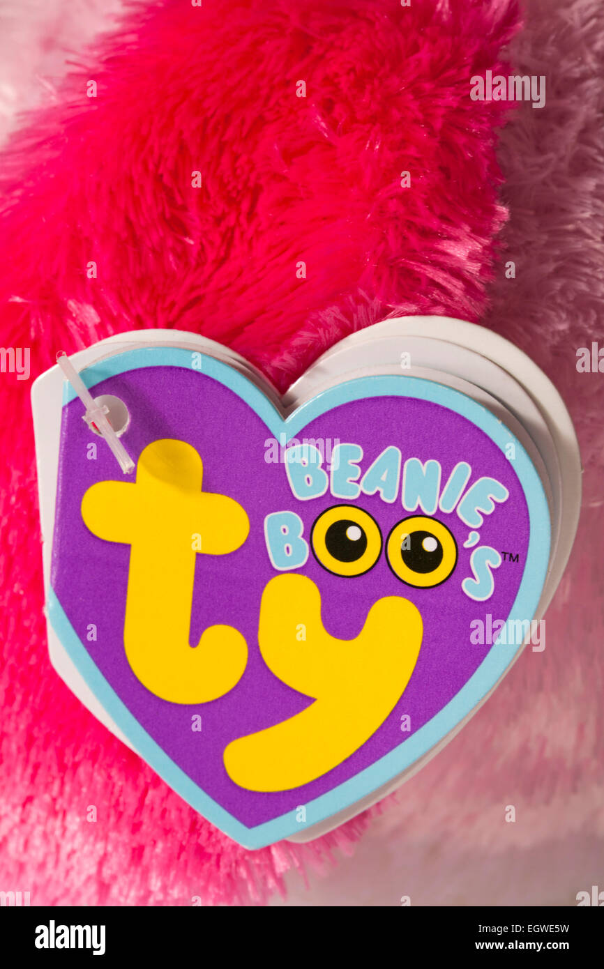 ty beanie boo's label tag on soft cuddly toy - Stock Image