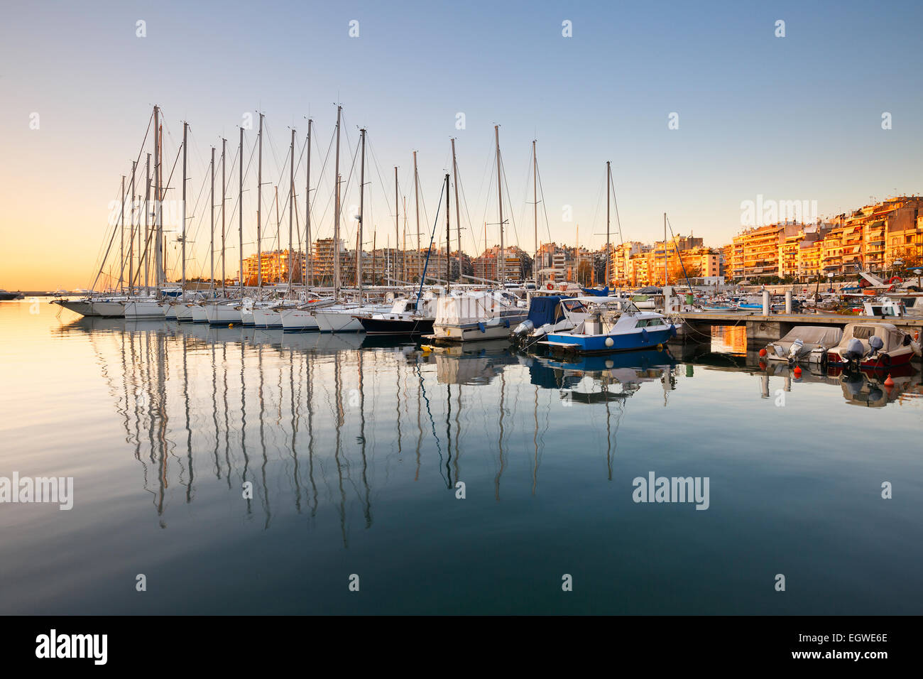 Sail boats in Zea Marina in Athens, Greece. - Stock Image