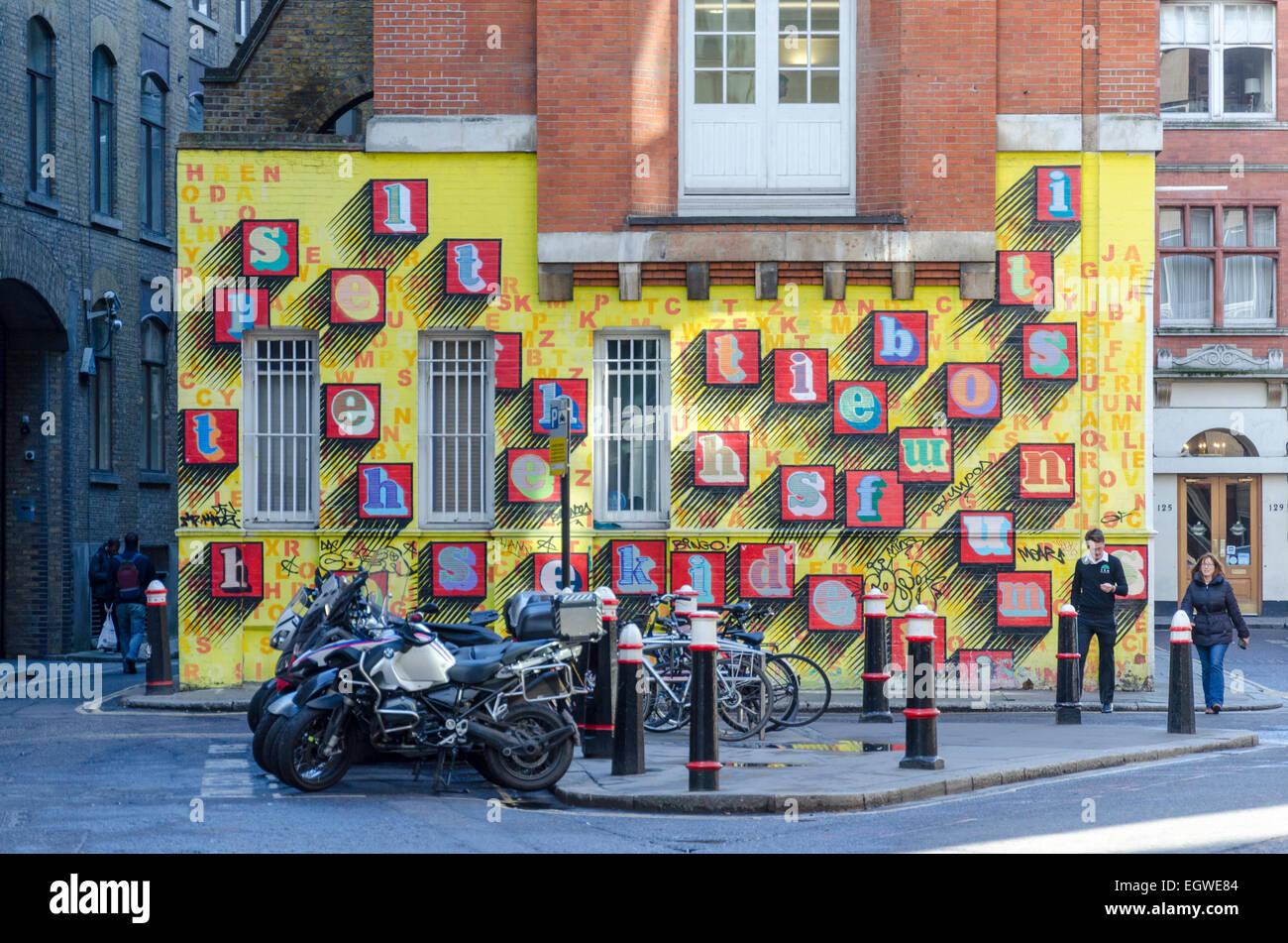 Street art by Ben Eine in east London, UK - Stock Image
