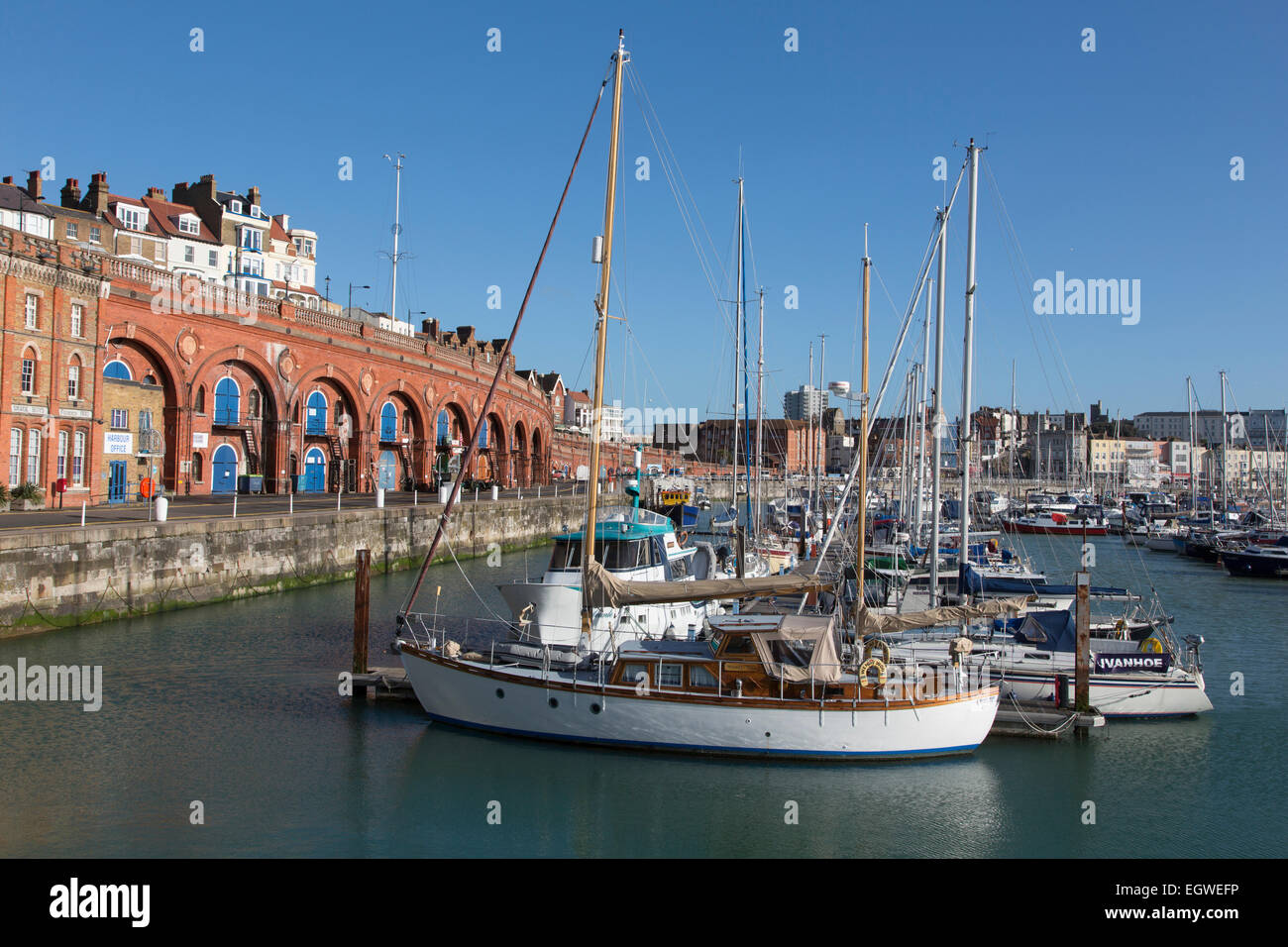 Ramsgate harbour, Kent  on a sunny winter's morning. - Stock Image