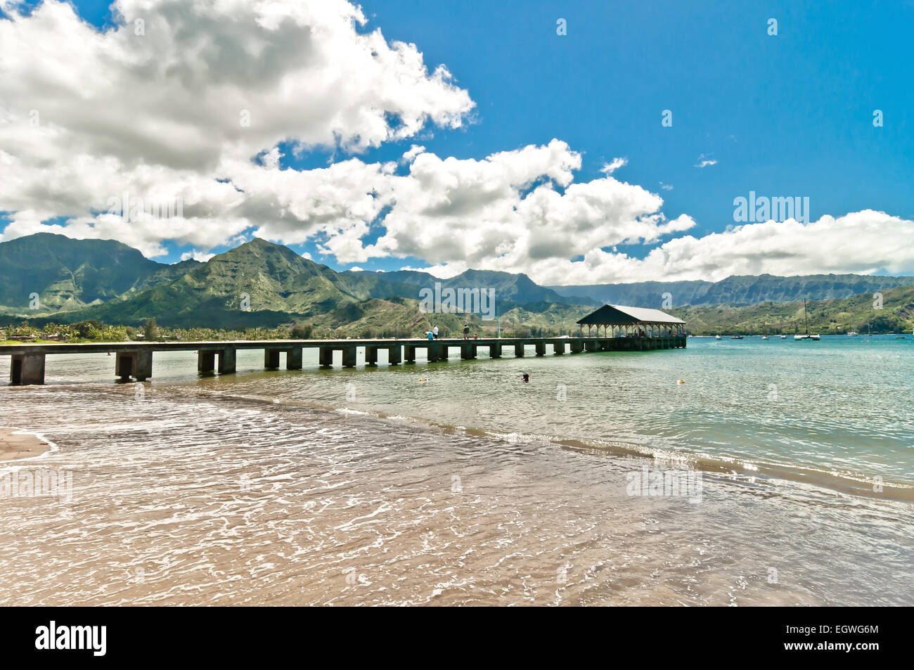 natural paradise Hanalei Bay, Kauai Island - Hawaii - Stock Image