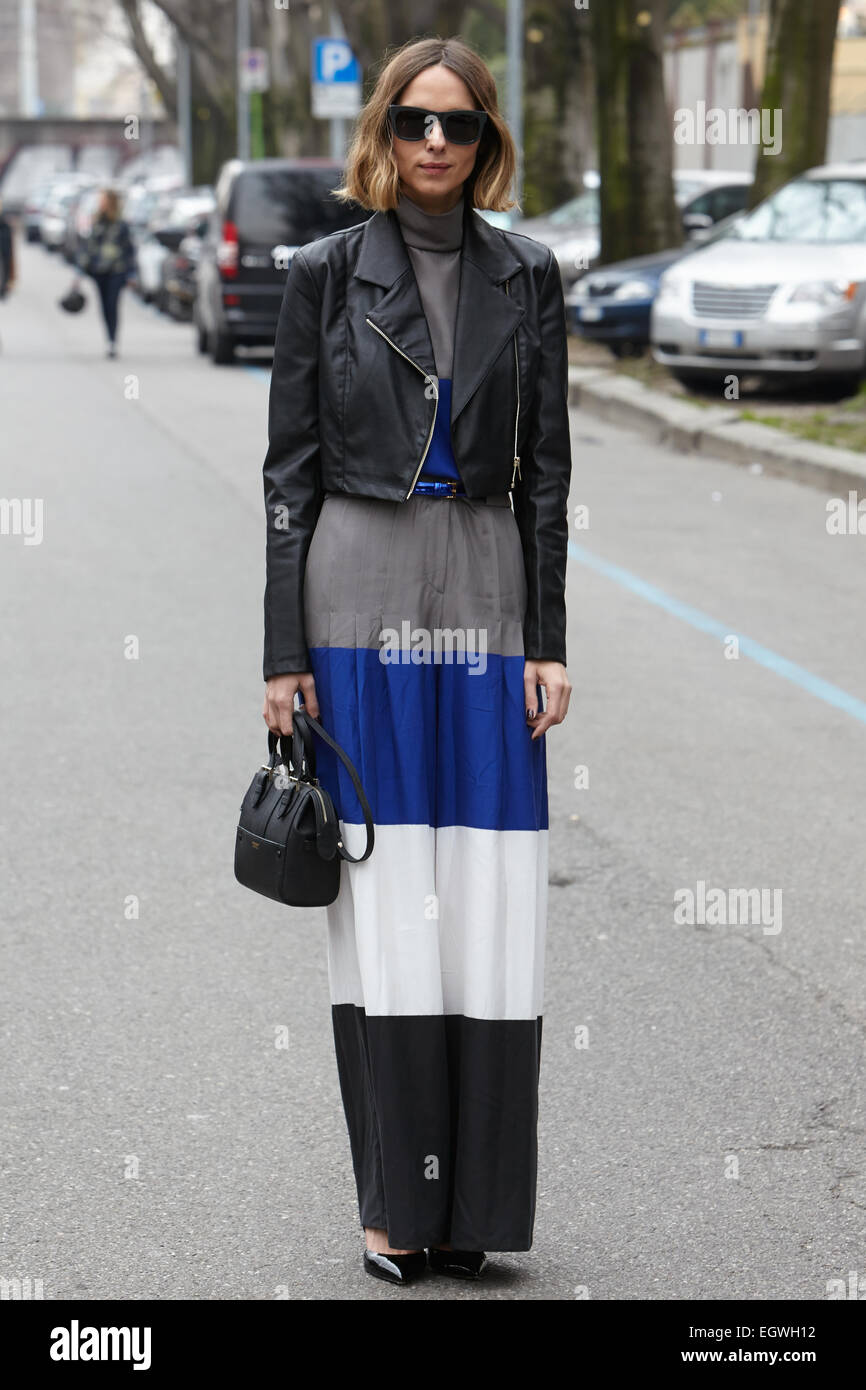 MILAN - FEBRUARY 27: Candela Novembre poses for photographers before Emporio Armani show Milan Fashion Week Day - Stock Image