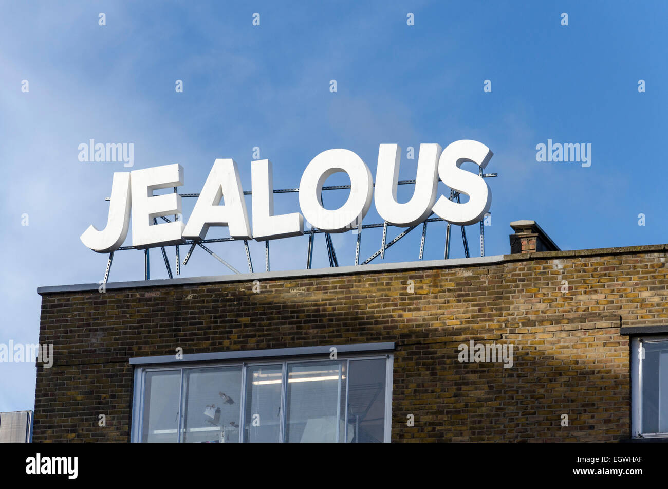 Sign for Jealous Gallery and Print Studio, Shoreditch, London, UK - Stock Image