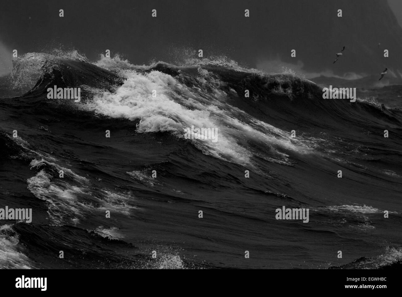 Large waves off St Kilda, Outer Hebrides, West Scotland. - Stock Image