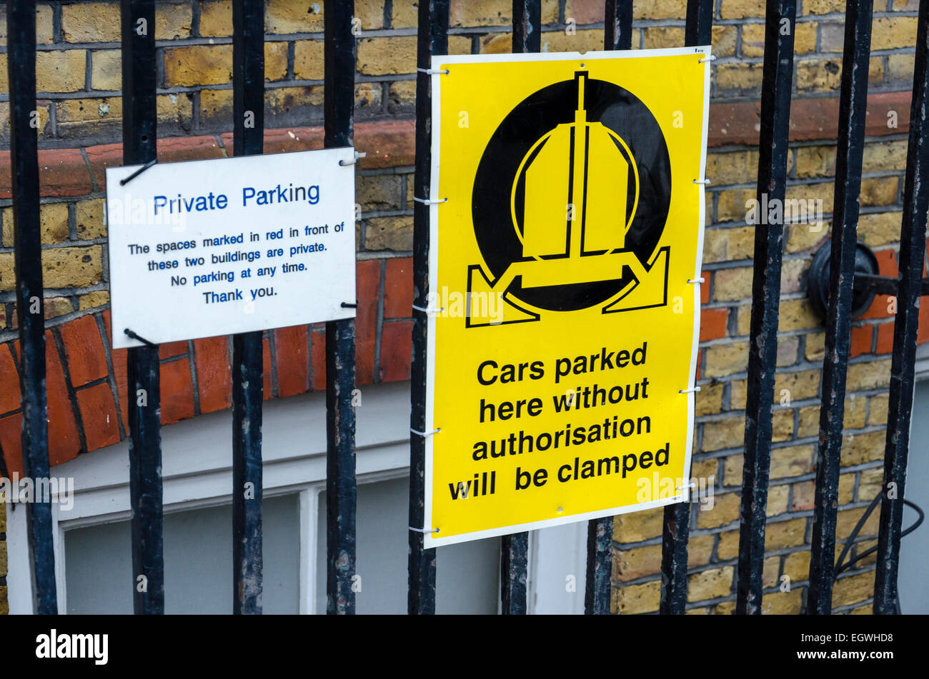 Private parking clamping sign. London, UK - Stock Image
