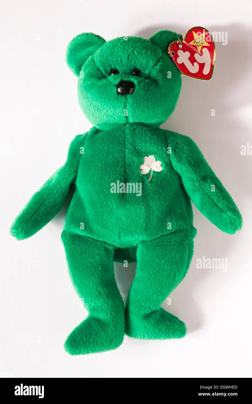 4ab0850211e ty original beanie baby Erin green teddy bear with Irish shamrock isolated  on white background