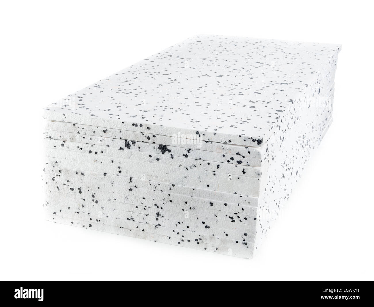 Pack of insulation styrofoam panels with graphite additive - Stock Image