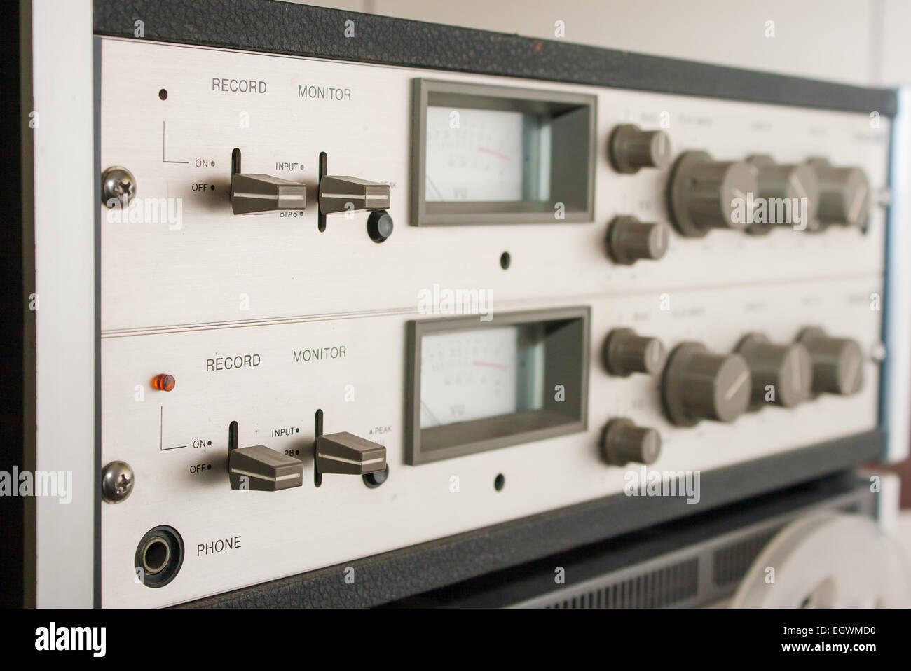 control panel reel tape recorder - Stock Image