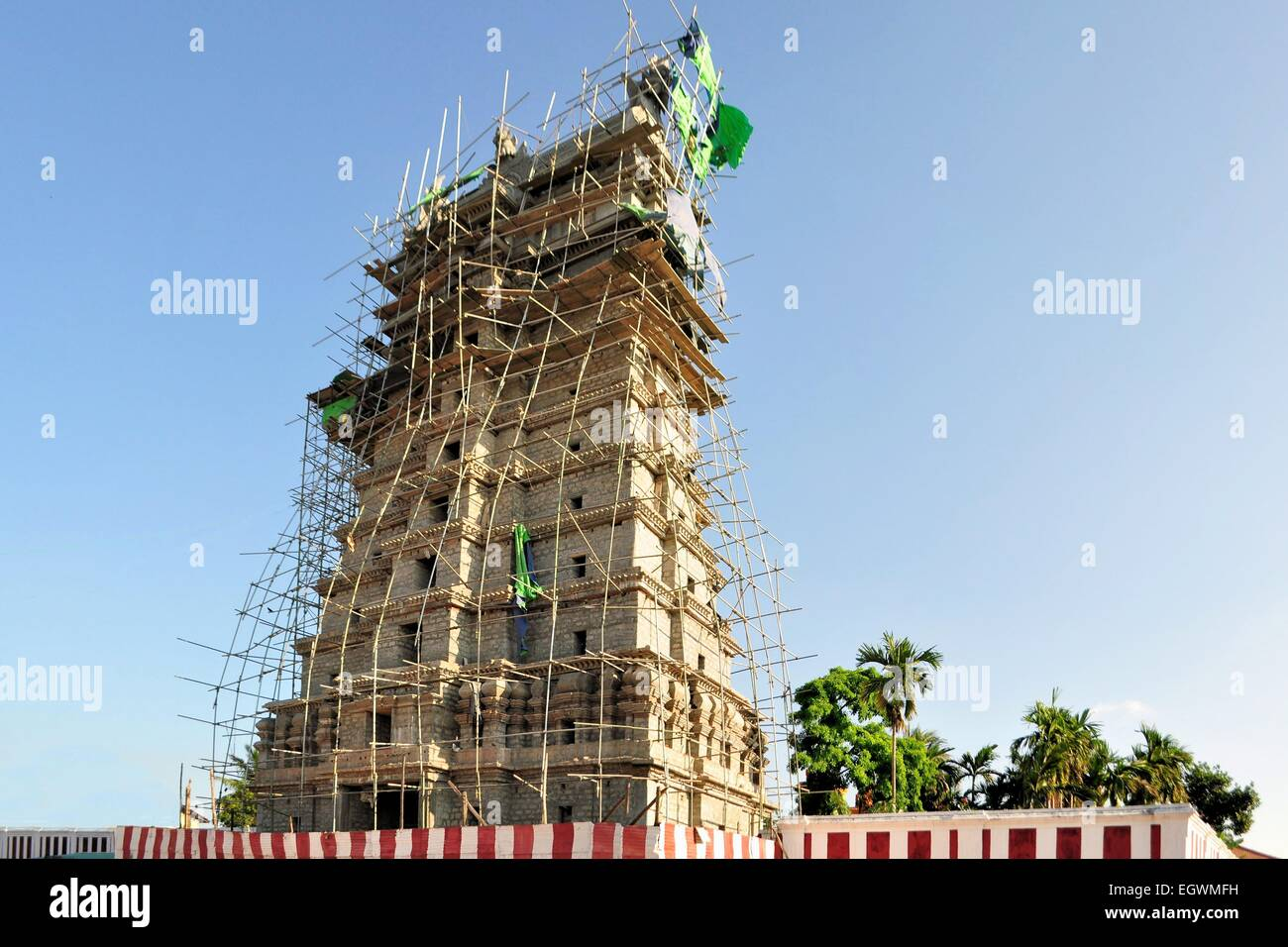 Indian Construction Site with Bamboo Scaffolding - Stock Image