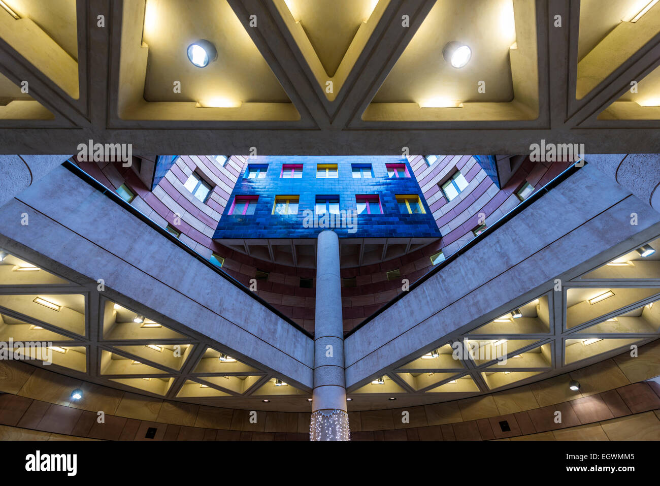 Inside 1 Poultry, looking up through the central atrium, London, UK - Stock Image