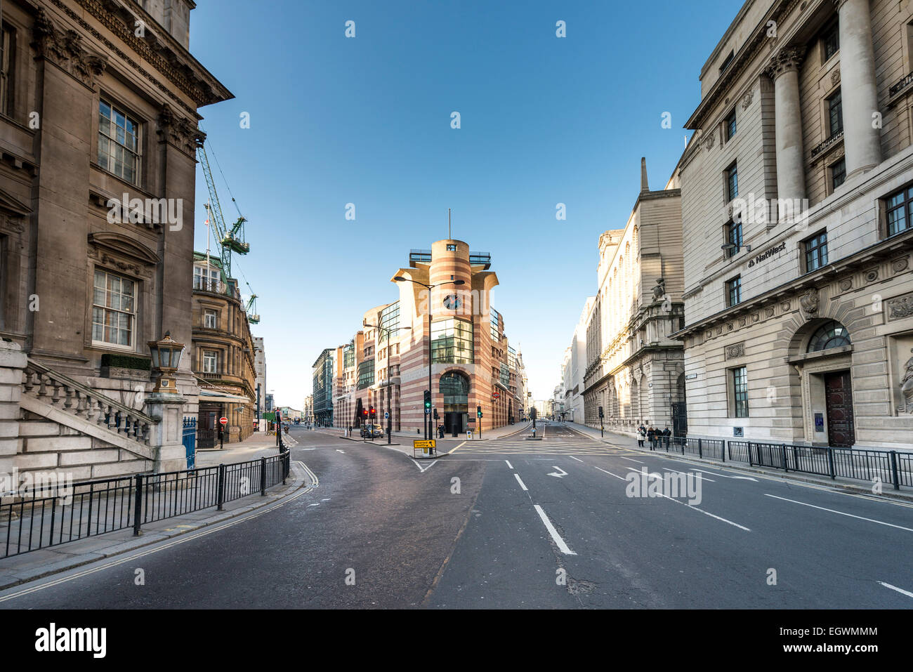 Views from Bank Junction to 1 Poultry, home to Coq d'Argent restaurant - Stock Image