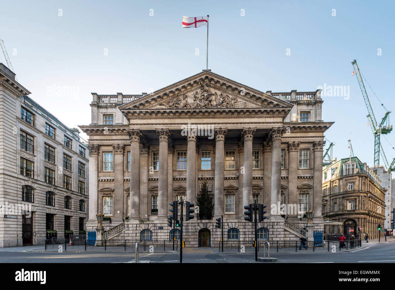 The Mansion House is the official residence of the Lord Mayor of London and is used for the City of London's - Stock Image