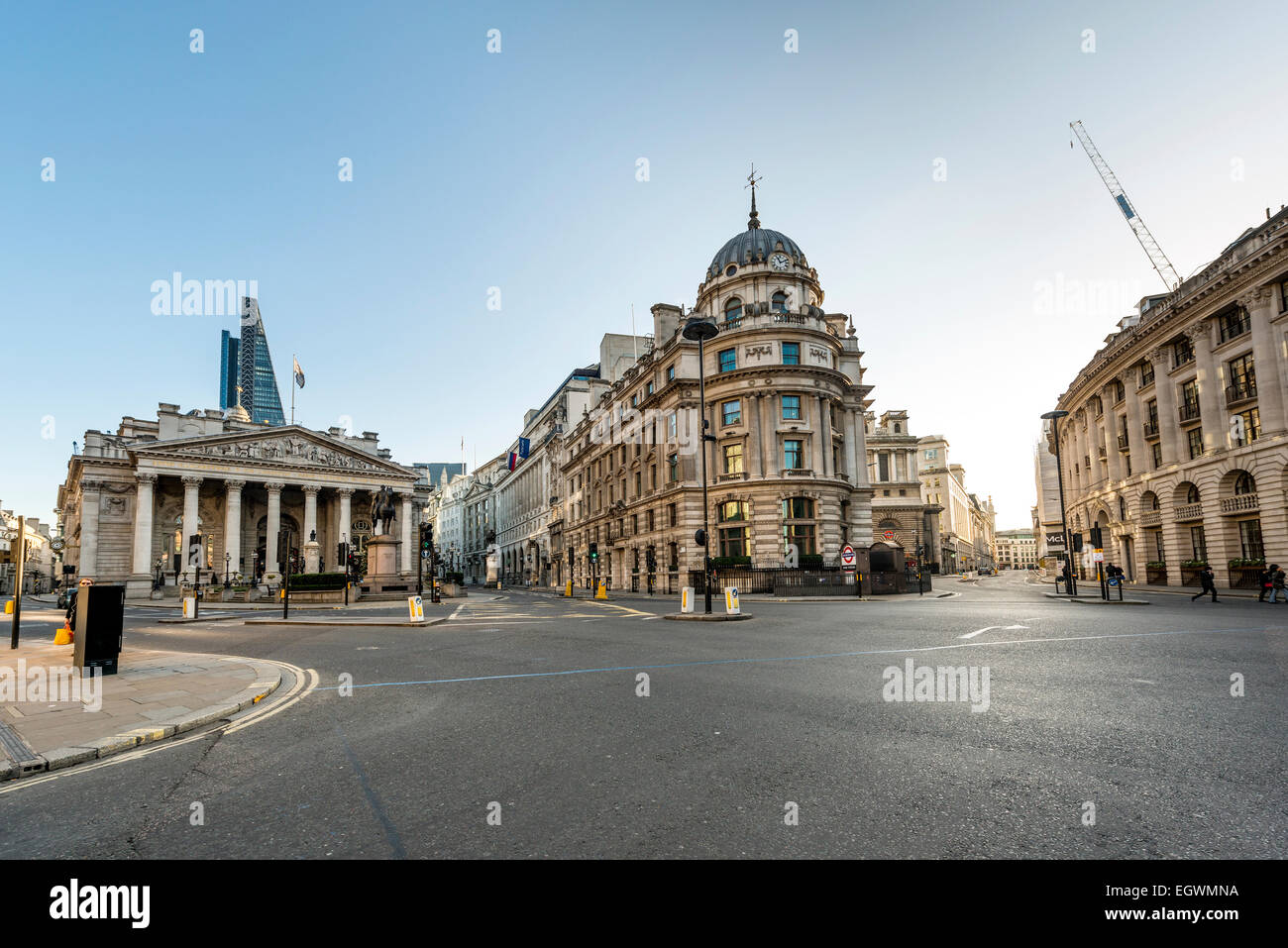 Bank Junction is a road junction in the City of London, seen here unusually empty - Stock Image