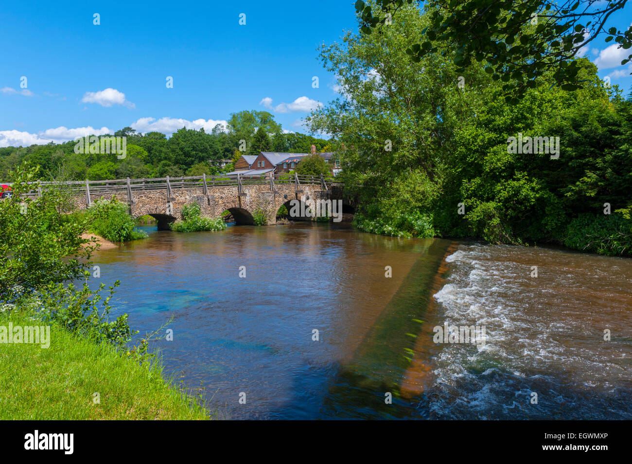 Bridge on the river Wey at Tilford Surrey. - Stock Image