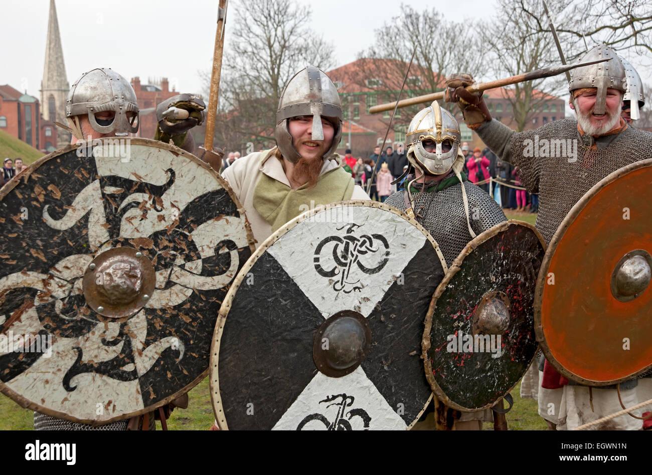 Vikings and Anglo Saxons at the Viking Festival York North Yorkshire England UK United Kingdom GB Great Britain - Stock Image