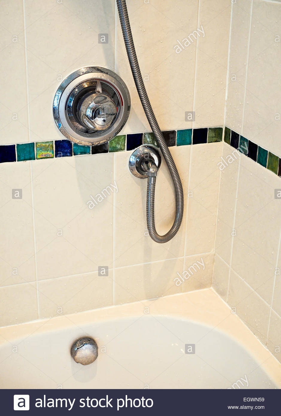 Shower fittings and water temperature control - Stock Image