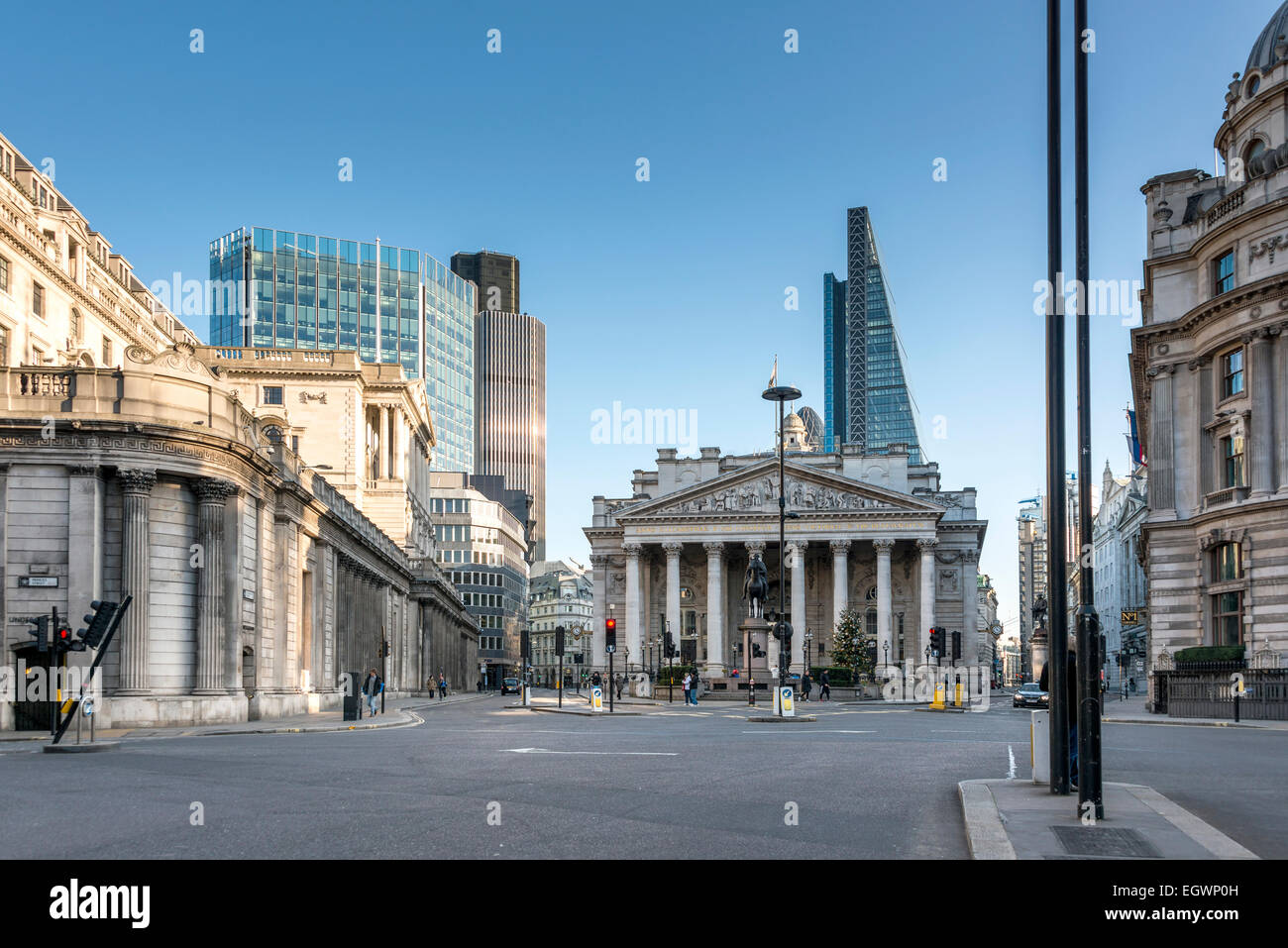 Bank Junction is a road junction in the City of London, seen here unusually empty, so named because of the Bank - Stock Image