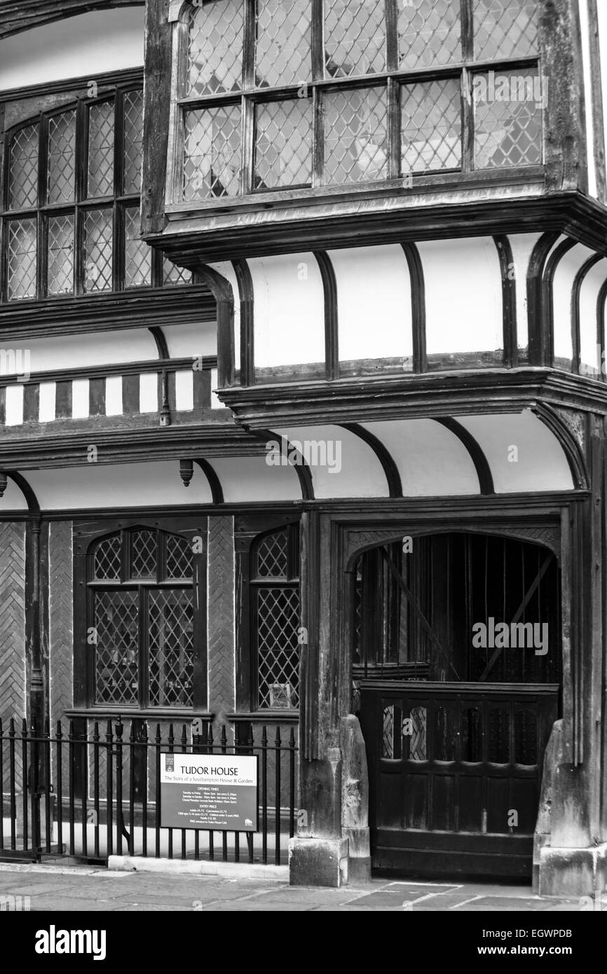Tudor House in black and white, the story of a Southampton House &Garden at Southampton, Hampshire, UK - Stock Image