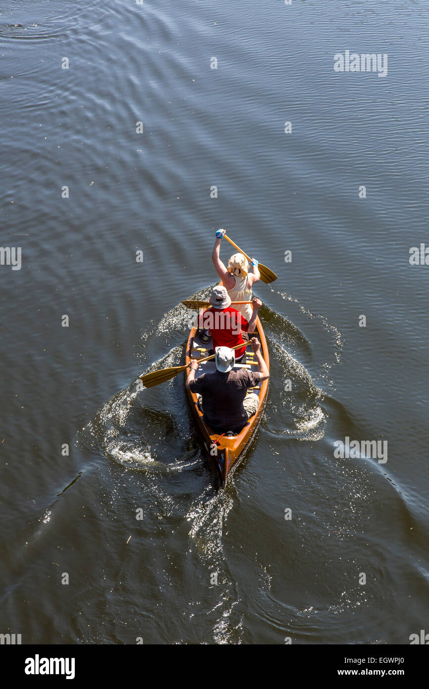 Canoe trip, river Ruhr, near Witten, Germany - Stock Image
