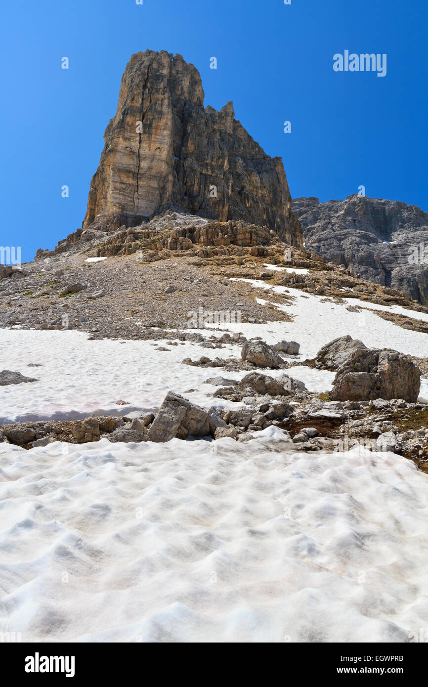 Dolomiti - summer view of Sas De Lech mount in Sella group, Alto Adige, Italy - Stock Image