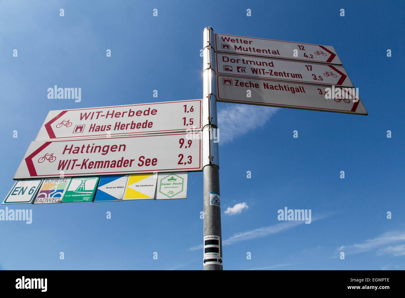 Signpost for different bike routes through the Ruhr region, 'Ruhr valley bike route' - Stock Image
