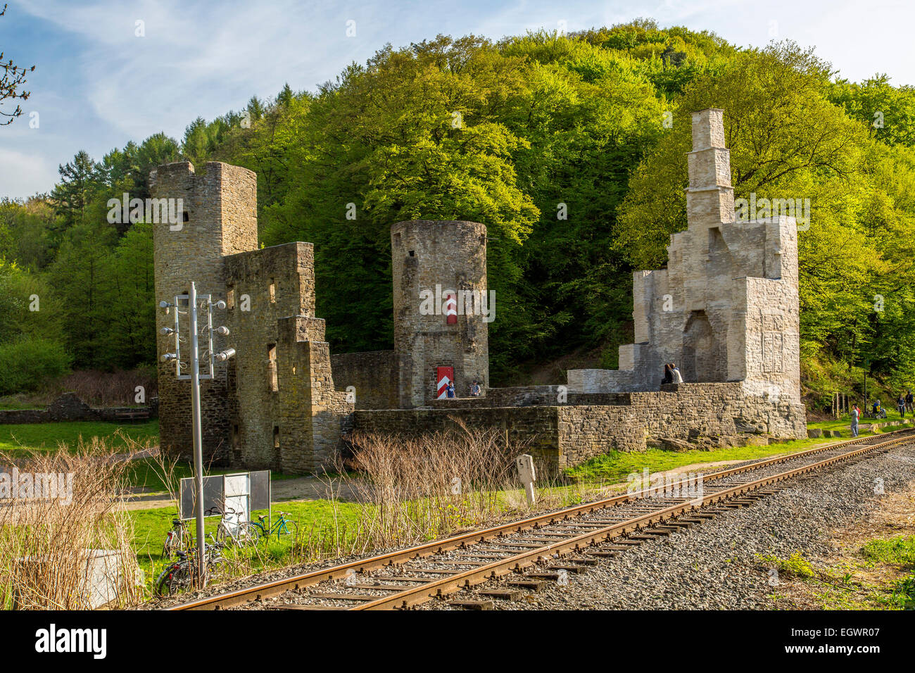 River Ruhr, ruin of Hardenstein castle, Witten, Germany, - Stock Image