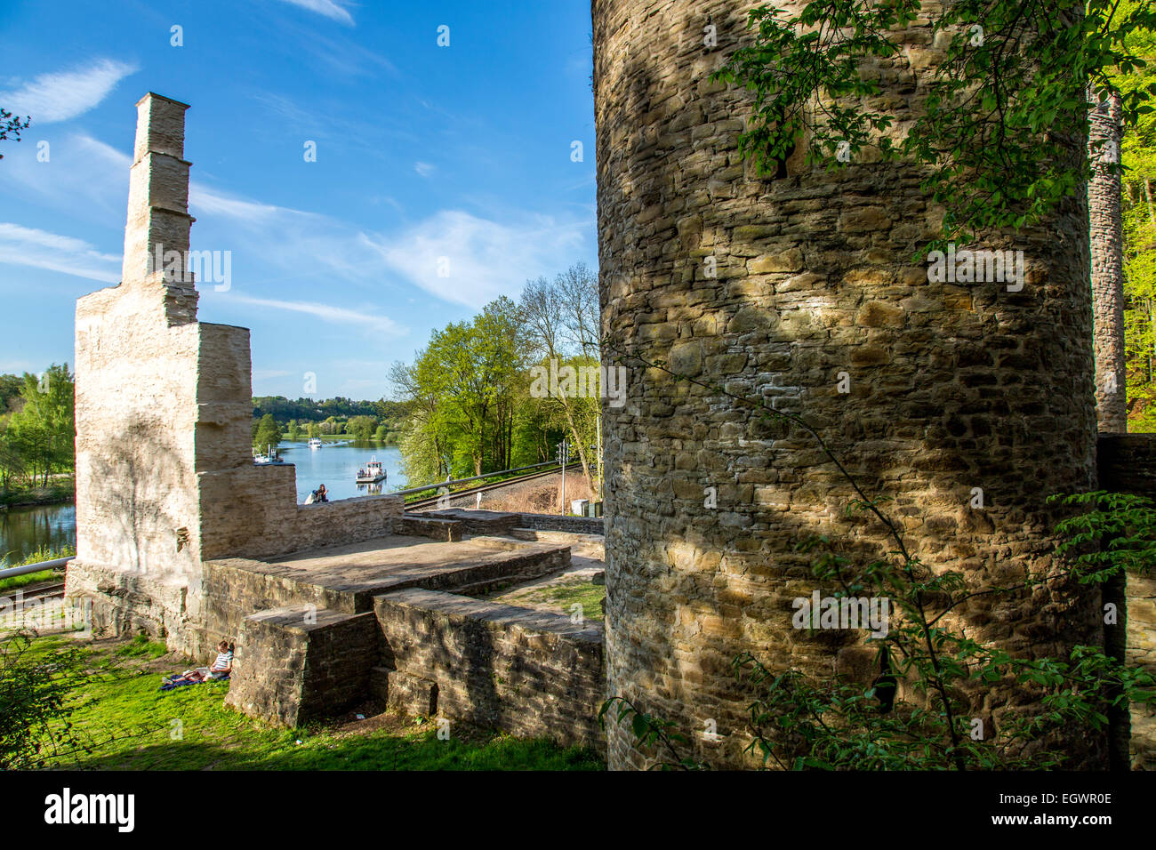 River Ruhr, ruin of Hardenstein castle, Witten, Germany,  bike and passenger river ferry boat, Stock Photo
