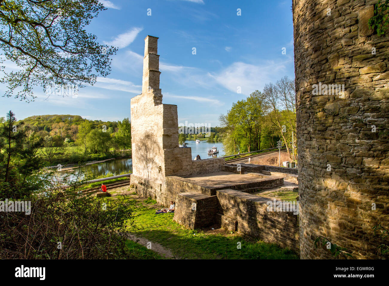 River Ruhr, ruin of Hardenstein castle, Witten, Germany,  bike and passenger river ferry boat, - Stock Image