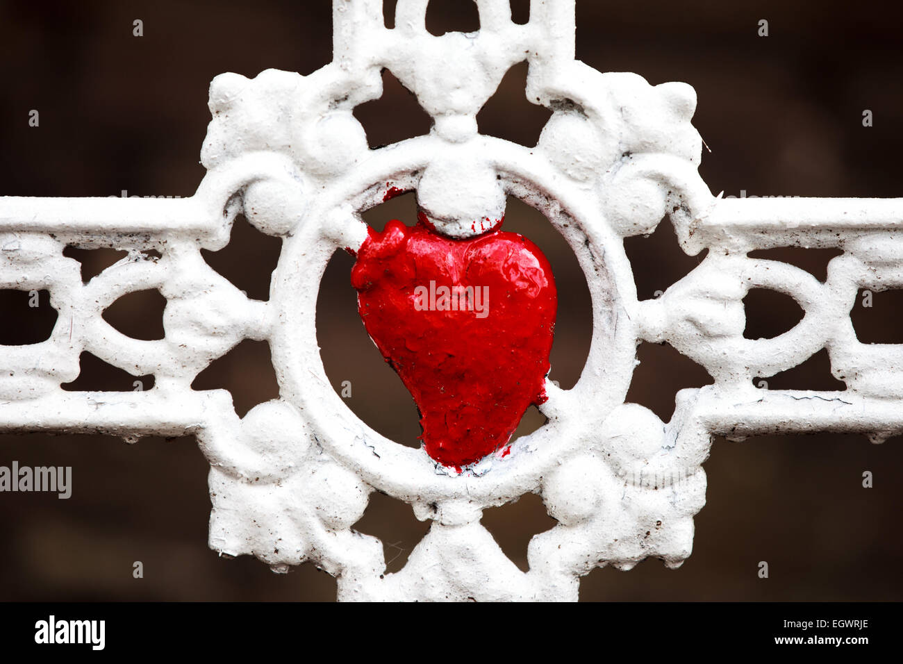 White cast iron cross with red heart in the center cemetery Hasselt color - Stock Image