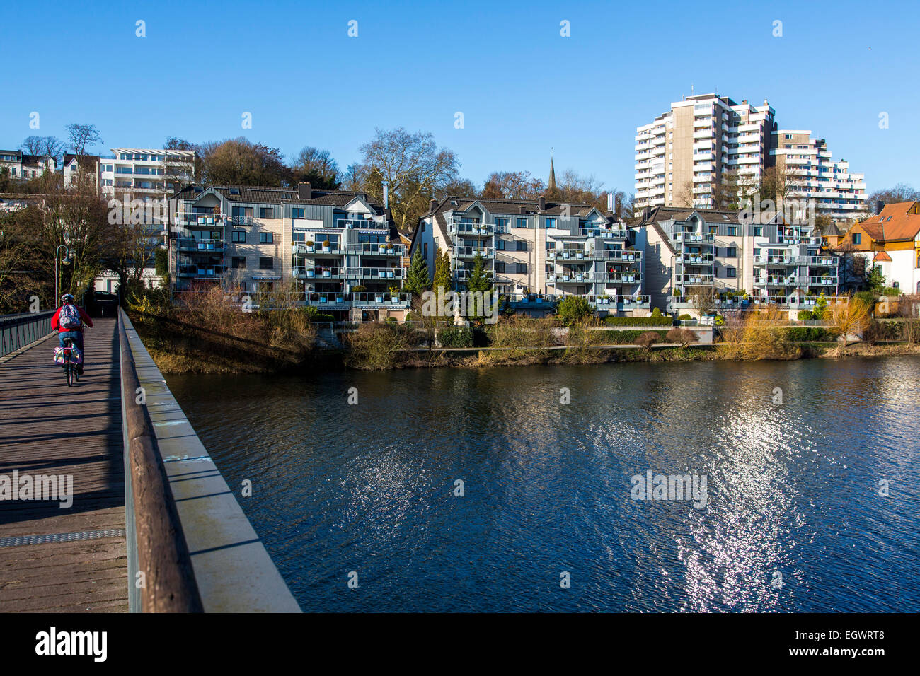 City center, Mülheim, river Ruhr, bridges, Stock Photo