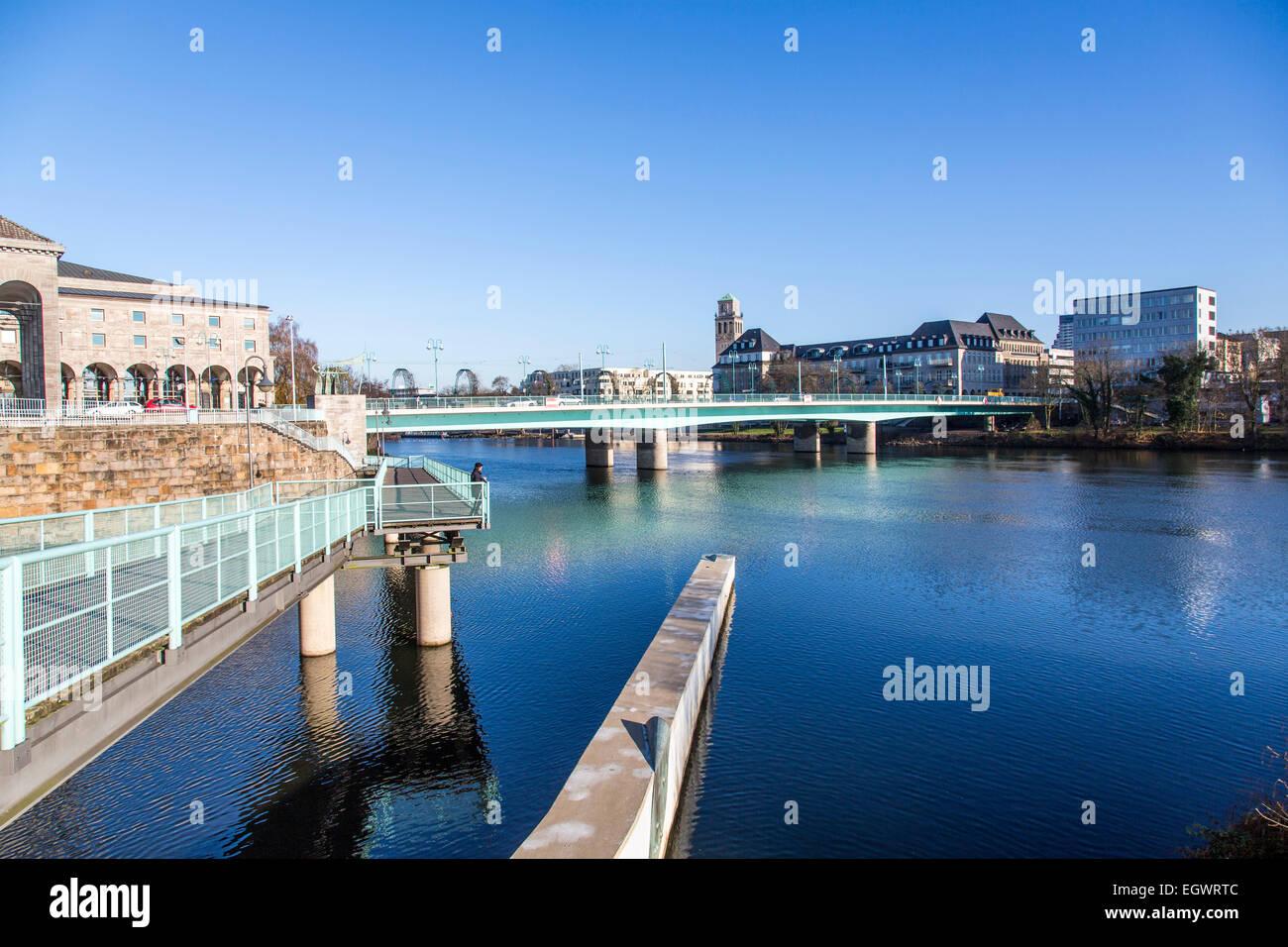 City center, Mülheim, river Ruhr, bridges, - Stock Image