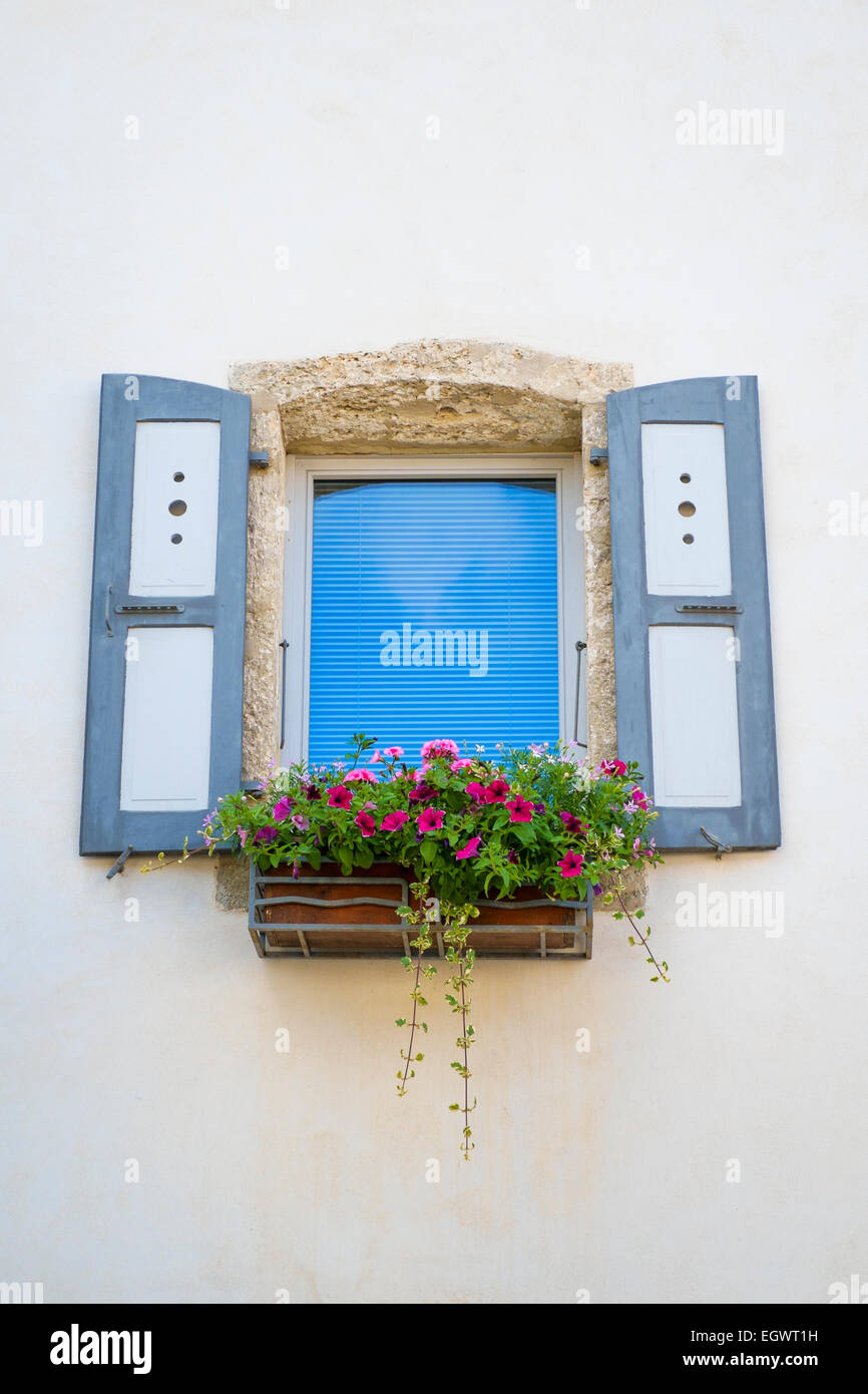 Window with shutters and flowers in a window box in France, Europe - Stock Image