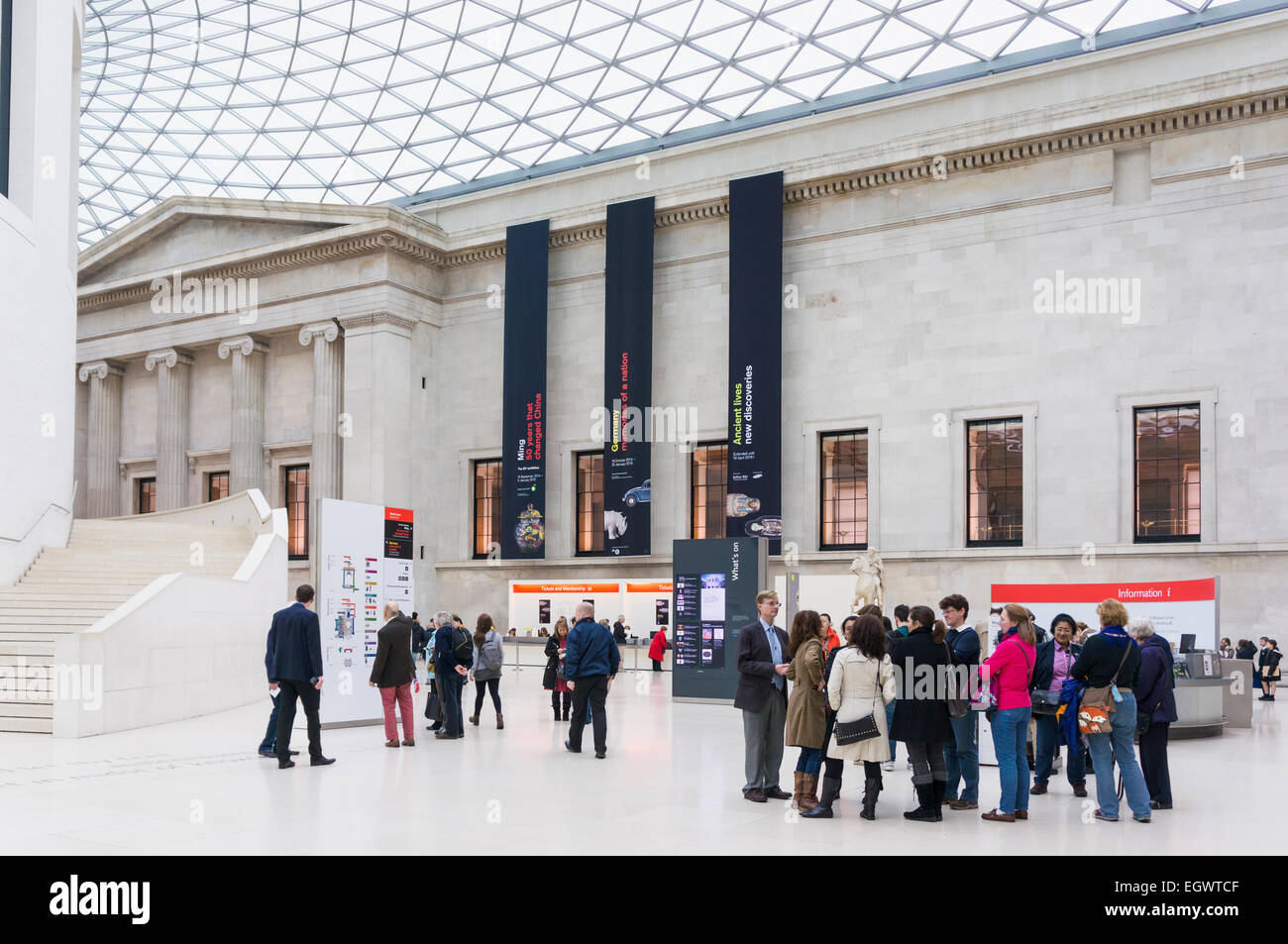 Foyer Museum London : Foyer of british museum london england uk with tourists stock