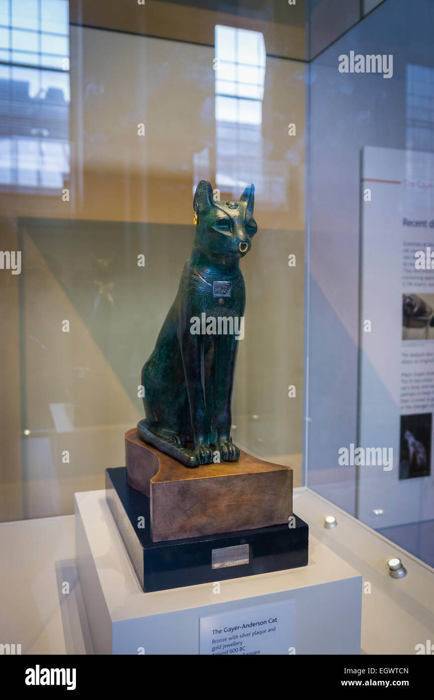 The Gayer-Anderson Cat, an Ancient Egyptian bronze statue in the British Museum, London, England, UK - Stock Image
