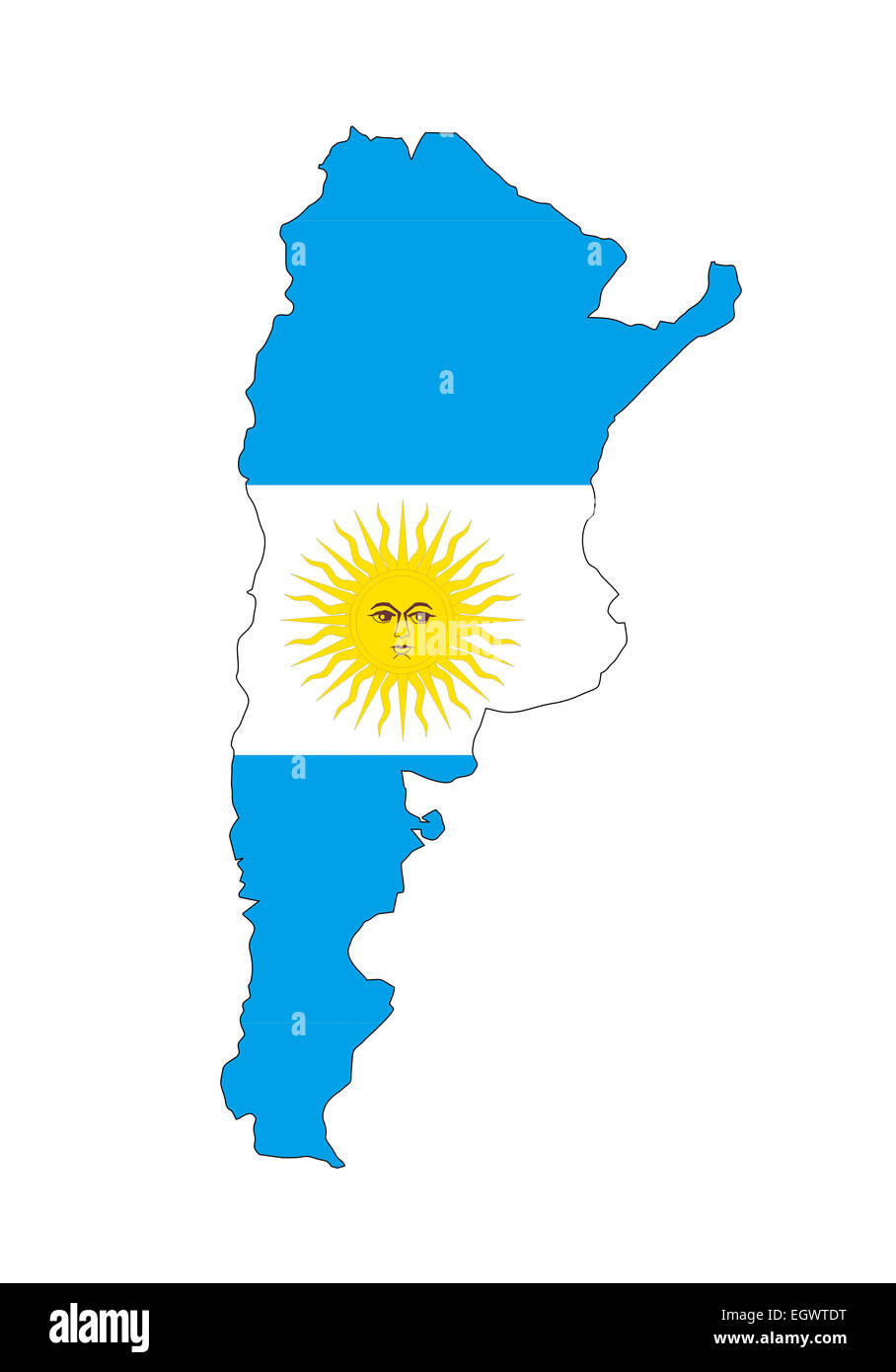 Argentina Country Flag Map Shape Cut Out Stock Images Pictures Alamy