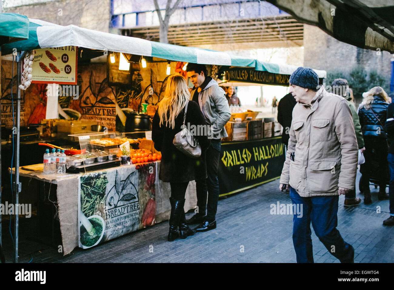 The Real Food street food market at the Southbank Centre in London. - Stock Image