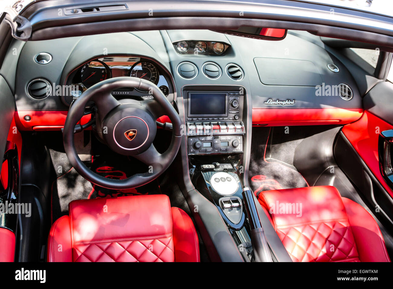 Interior Of A 2012 Lamborghini Huracan In Red And Bacl Leather   Stock Image