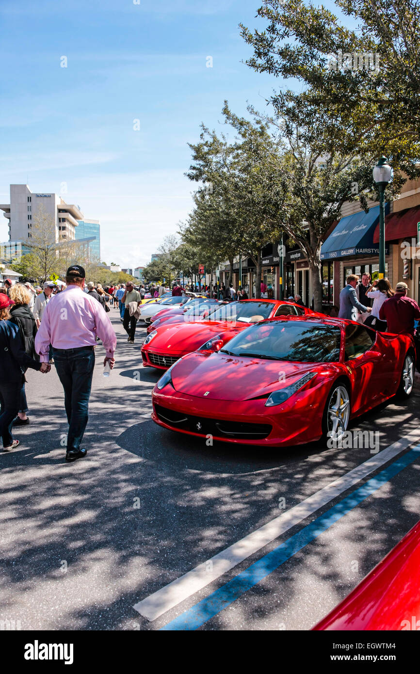 Red Italian Ferrari sports cars on display at the exotic car show in downtown Sarasota FL - Stock Image