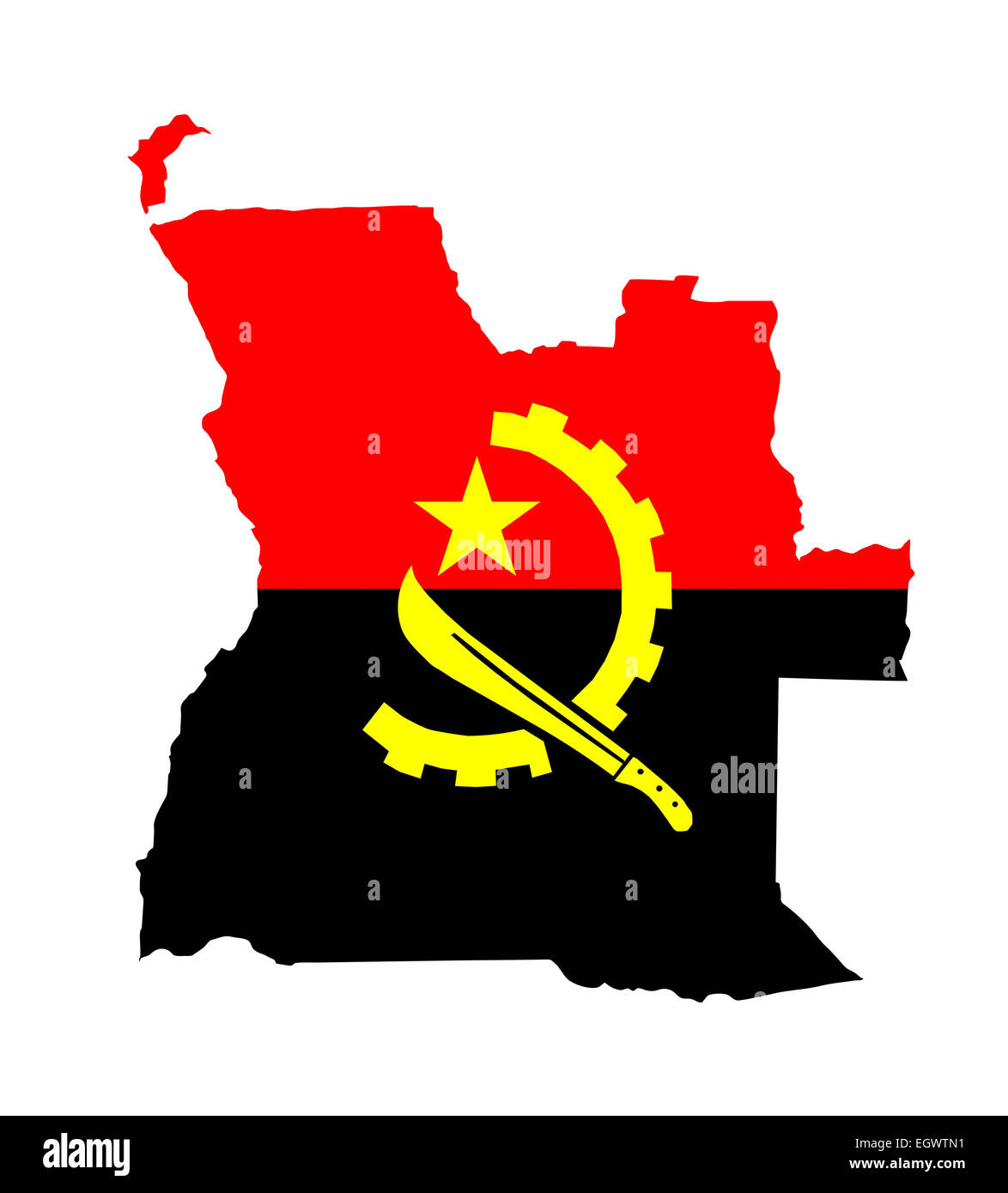angola country flag map shape national symbol - Stock Image